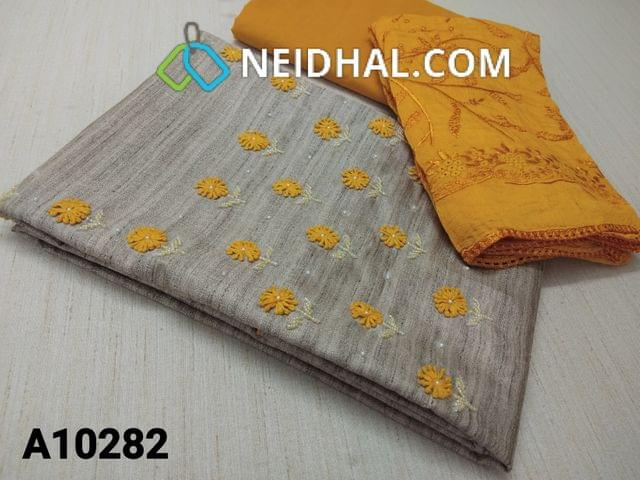 CODE A10282 : Designer Silver Grey Geecha Semi Jute Silk unstitched salwar material(requires lining) with thread work, pearl and bead work on yoke, yellow cotton bottom, Heavy Embroidery work on silk cotton dupatta with lace tapings
