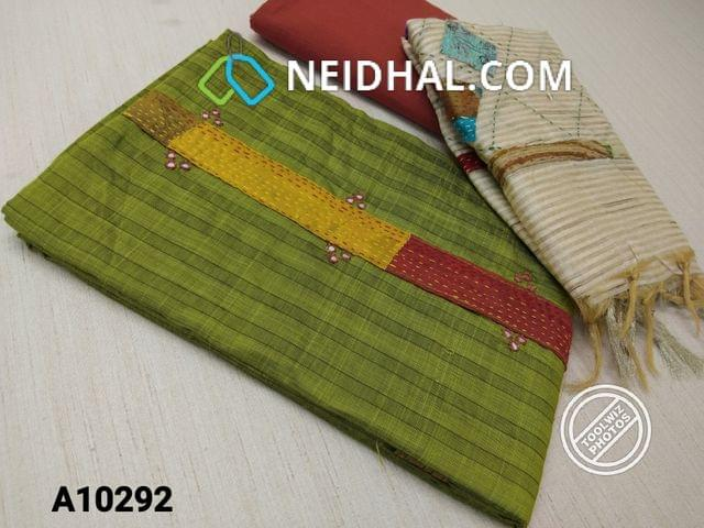 CODE A10292 : Green Silk Cotton unstitched salwar material (requires lining) with faux mirror, kantha stitch patch work on yoke,  cotton bottom, patch work on geecha silk cotton dupatta with tassels.(requires taping)