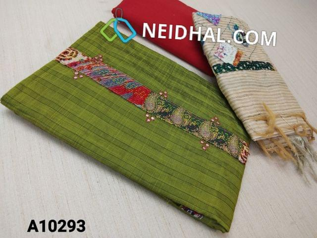 CODE A10293 : Green Silk Cotton unstitched salwar material (requires lining) with faux mirror, kantha stitch patch work on yoke, red cotton bottom, patch work on geecha silk cotton dupatta with tassels.(requires taping)