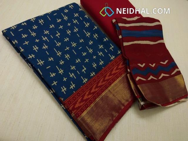 CODE R26 : Block Printed Blue Cotton Unstitched salwar material(there might be variations in print alignment, density due to manual work) , daman patch,  red Cotton Bottom, Block printed (there might be variations in print alignment, density due to manual work) cotton dupatta.(requires taping)