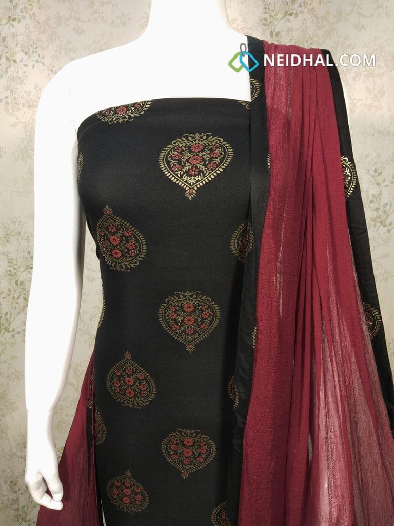 CODE : 16 Printed Black Rayon unstitched salwar material with golden prints, maroon Cotton bottom, maroon chiffon dupatta with taping