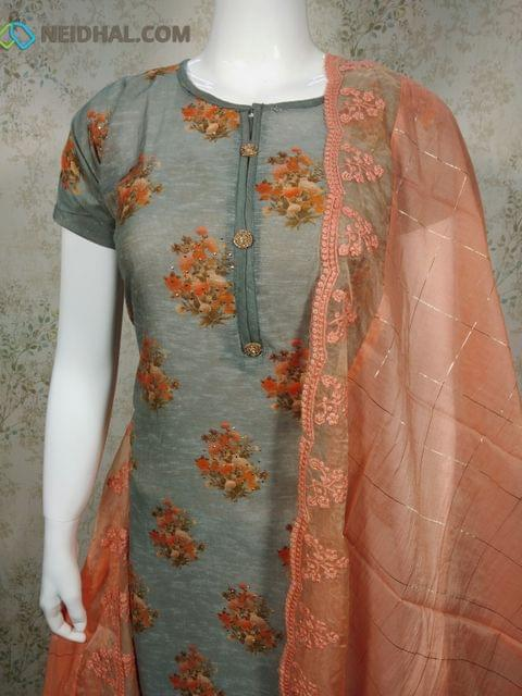 Floral Printed Grey Silk Cotton Unstitched salwar material(reqiures lining) with golden dew drops on front side, plain back side, daman patch, peach drum dyed cotton bottom, peach silk cotton dupatta with lace tapings.