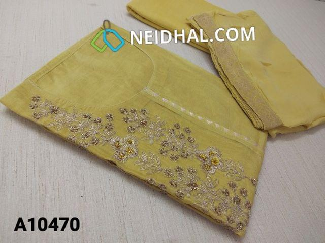 CODE A 10470 : Designer Mehandhi Green Silk Cotton unstitched salwar material(requires lining) with pipe, thread and zari thread work on yoke, neck stitch,  plain back side, drum dyed cotton bottom, mehandhi green chiffon dupatta with border(requires taping)