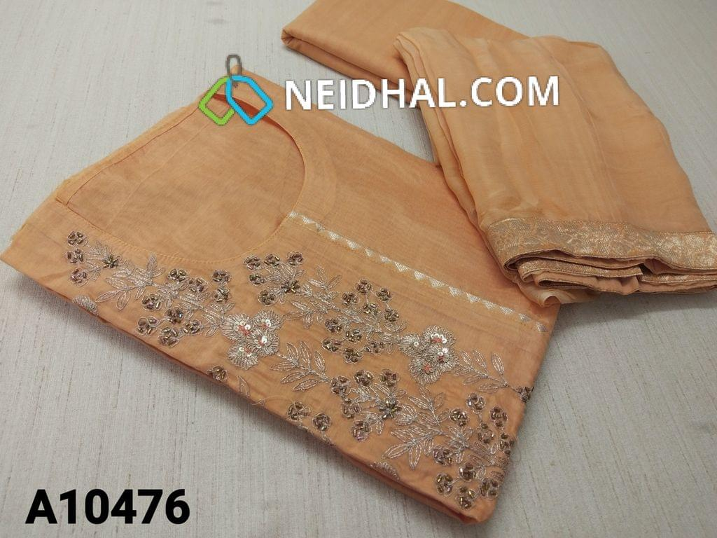 CODE A 10476 : Designer Light Orange Silk Cotton unstitched salwar material(requires lining) with pipe, thread and zari thread work on yoke, neck stitch,  plain back side, drum dyed cotton bottom, light orange chiffon dupatta with border(requires taping)
