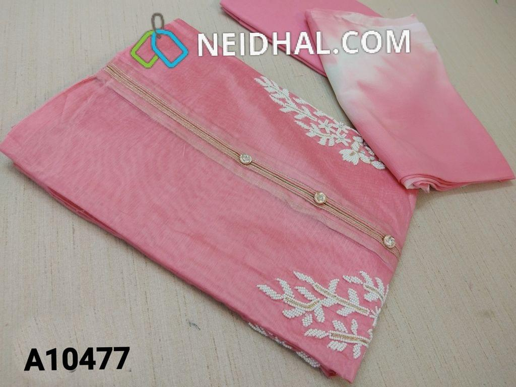 CODE A 10477 : Designer Light Pink Silk Cotton unstitched salwar material(requires lining) with fancy buttons, pipe, bead and mini stone work on yoke, plain back side, drum dyed cotton bottom, Dual shade soft chiffon dupatta (requires taping)