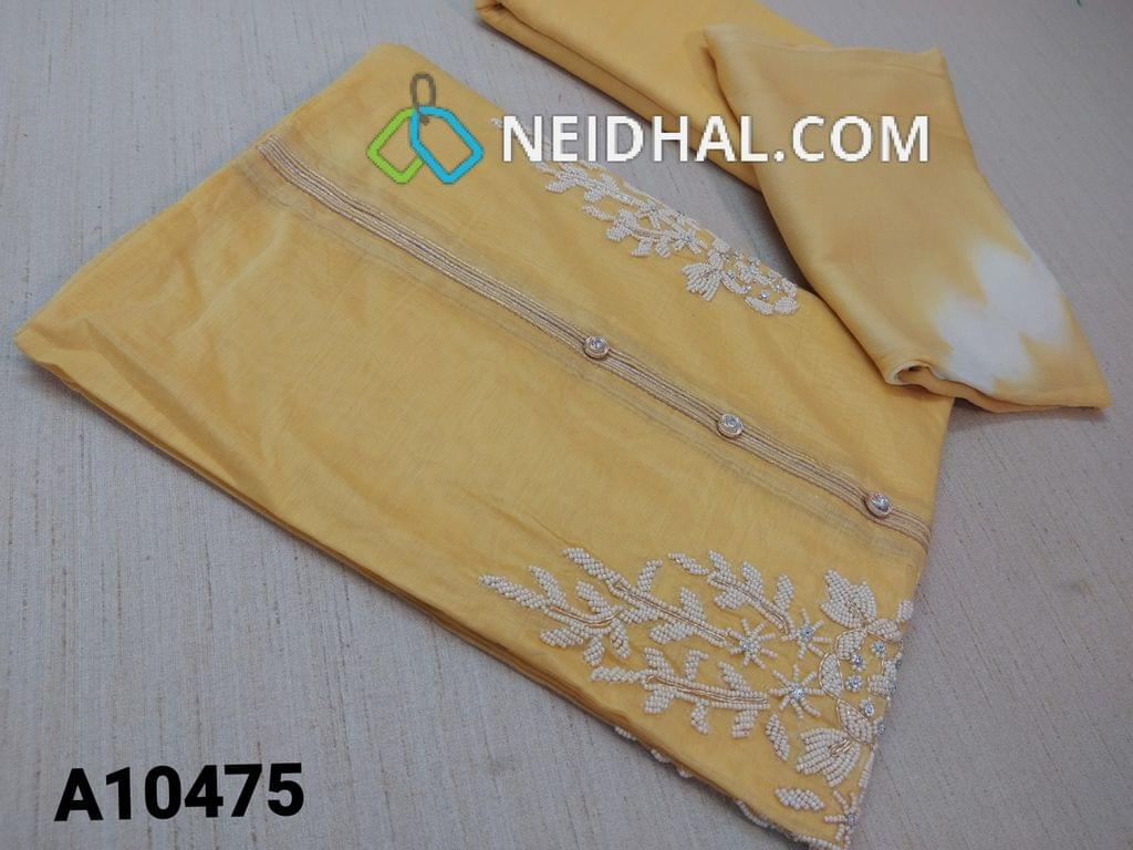 CODE A 10475 : Designer Yellow Silk Cotton unstitched salwar material(requires lining) with fancy buttons, pipe, bead and mini stone work on yoke, plain back side, drum dyed cotton bottom, Dual shade soft chiffon dupatta (requires taping)