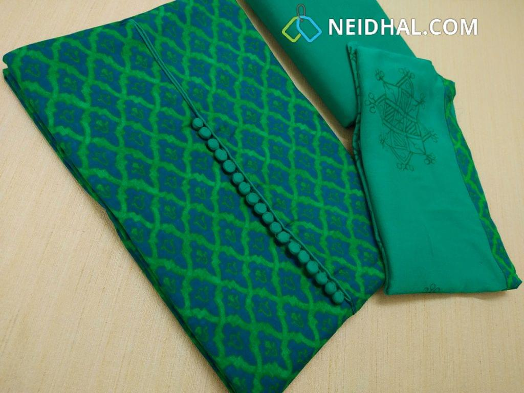 CODE R19 : Printed Green Satin Cotton unstitched salwar material with neck pattern, Potli buttons, daman patch, Green cotton bottom, Block printed Green chiffon dupatta with taping