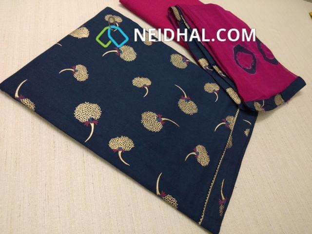 CODE : R3 Golden Printed Blue Cotton unstitched salwar material, Pink cotton bottom, Printed Pink chiffon dupatta with  taping