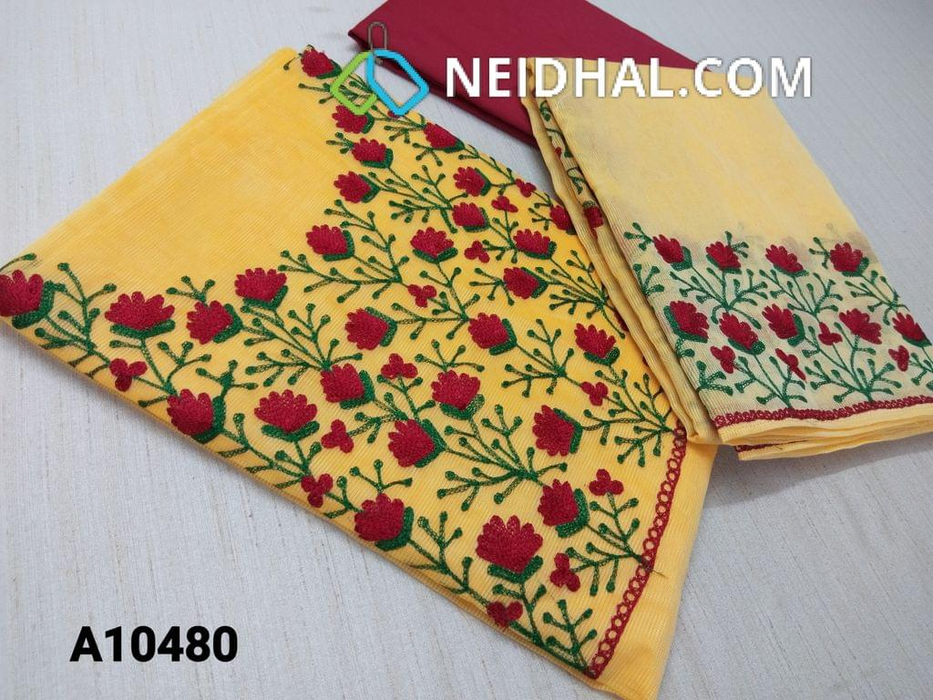 CODE A10480 : Designer Yellow Accord(super net fabric requires lining) with thread hand work on yoke, maroon silk cotton bottom, thread work on border accord(super net) dupatta with tapings