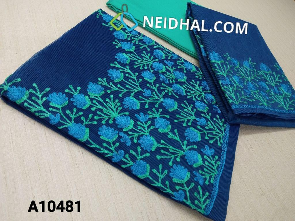 CODE A10481 : Designer Ink Blue Accord(super net fabric requires lining) with thread hand work on yoke, green silk cotton bottom, thread work on border accord(super net) dupatta with tapings