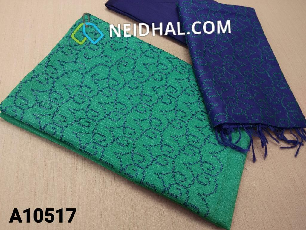 CODE A10517 : Turquoise Green Silk Cotton unstitched salwar material(requires lining) with thread work on yoke, blue silk cotton bottom, thread work on silk cotton dupatta with tassels.
