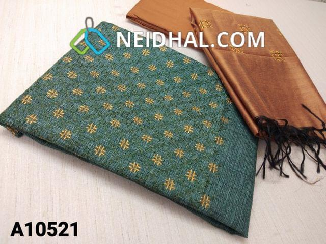 CODE A10521 : Green Silk Cotton unstitched salwar material(requires lining) with thread work on yoke, fenu reek yellow silk cotton bottom, thread work on silk cotton dupatta with tassels.