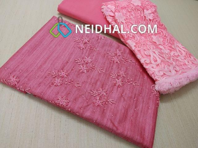 Premium Dual Shade Pink Semi Jute Silk unstitched salwar material(requires lining) with thread and bead work on yoke, Pink tafeeta bottom, Super net dupatta with heavy thread work and fancy taping.