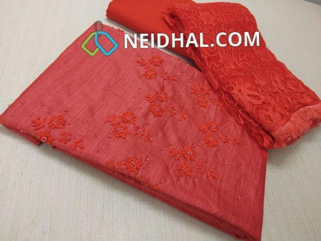 Premium Dual Shade Orange Semi Jute Silk unstitched salwar material(requires lining) with thread and bead work on yoke, Orange tafeeta bottom, Super net dupatta with heavy thread work and fancy taping.