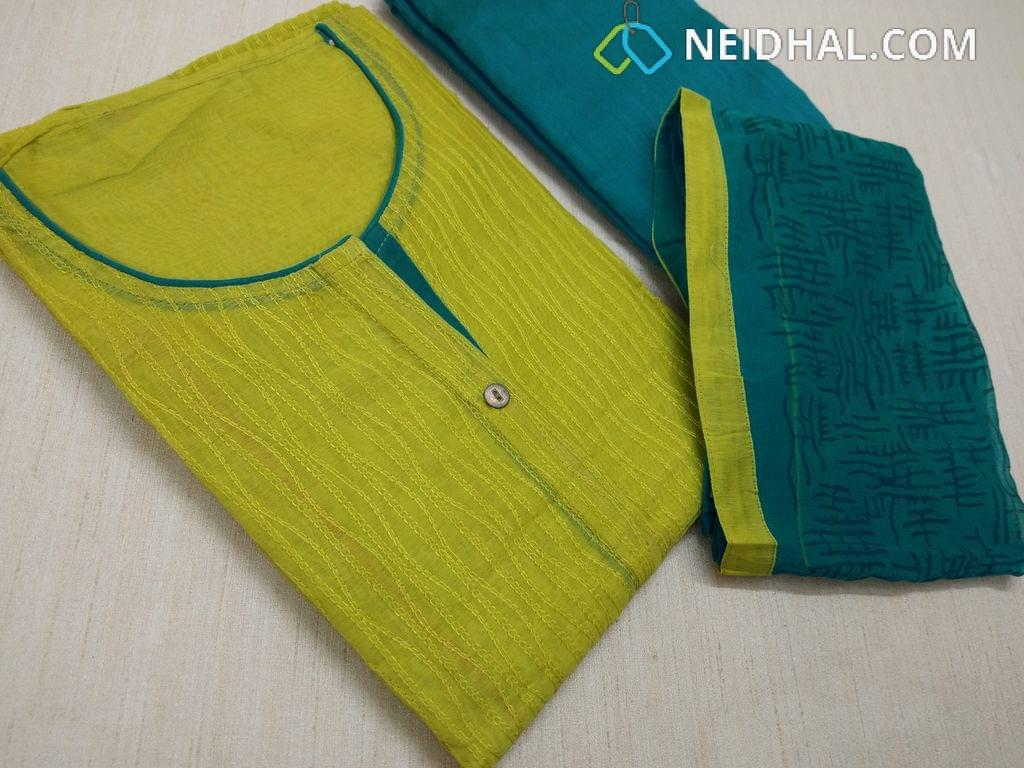 Green Silk Cotton unstitched salwar material(requires lining) with thread work on front side, plain back, Blue silk cotton bottom, Printed Blue chiffon dupatta with taping