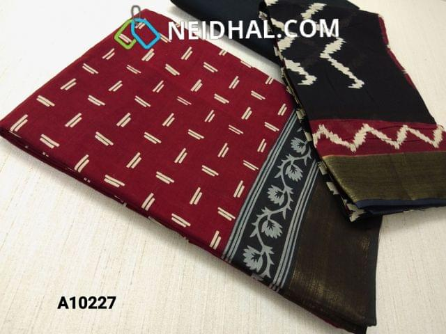 CODE : A10227 Block Printed Maroon Cotton Unstitched salwar material(there might be variations in print alignment, density due to manual work) , daman patch,  black Cotton Bottom, Block printed (there might be variations in print alignment, density due to manual work) cotton dupatta.(requires taping)