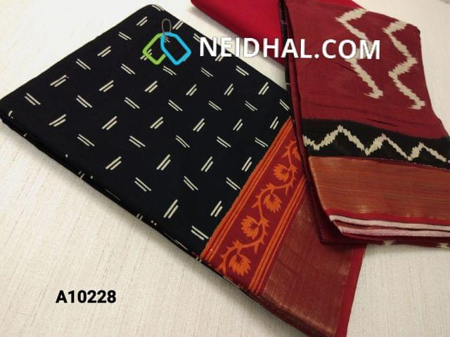 CODE : A10228 Block Printed Black Cotton Unstitched salwar material(there might be variations in print alignment, density due to manual work) , daman patch,  red Cotton Bottom, Block printed (there might be variations in print alignment, density due to manual work) cotton dupatta.(requires taping)