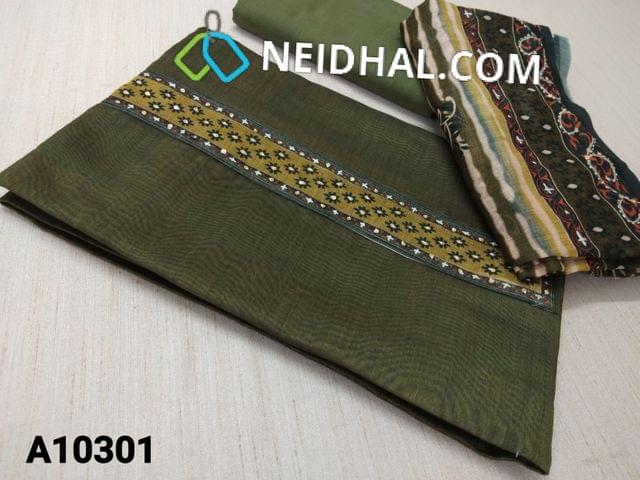 CODE A10301 : Premium Green Soft Thin Silk Cotton unstitched salwar material(requires lining) with digital print, thread and sequence work on yoke, green soft cotton bottom, digital printed thread and sequence work on silk cotton dupatta with tapings