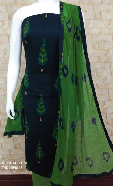 CODE R21 :  Printed Navy Blue Cotton Unstitched salwar material, green cotton bottom, Printed green chiffon dupatta with tapings.