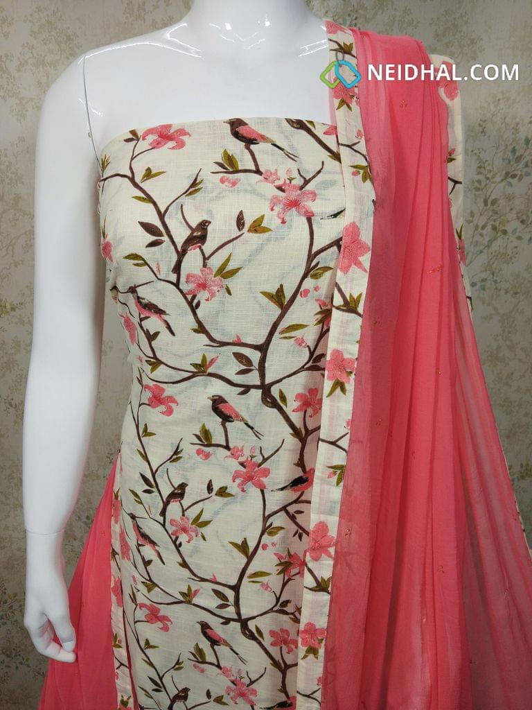 CODE R28 : Half White Slub Cotton Unstitched salwar material(requires lining) with golden Prints, pink cotton bottom, pink chiffon dupatta with tappings.