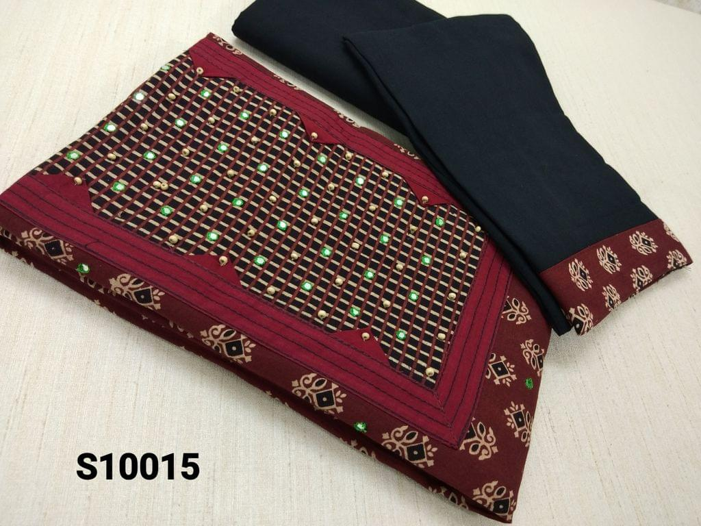 CODE S10015 : Premium Ajrak Printed Maroon Cotton Unstitched salwar material(requires lining) with thread and foil mirror work on yoke, black cotton bottom, black mul cotton dupatta with tapings (VIDEO IS FOR REFERENCE ONLY, SUIT IN VIDEO HAS DIFFERENT DESIGN)