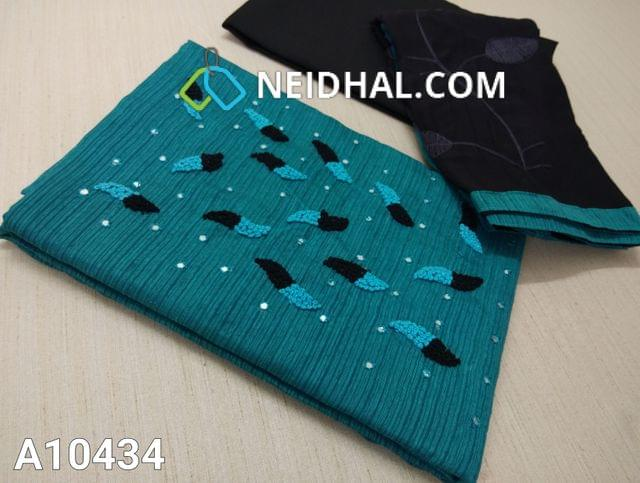 CODE A10434 : Blue Silk Cotton unstitched salwar material(requires lining) with foill mirror and french knot work on yoke, black cotton bottom, embroidery work on dual color chiffon dupatta with tapings