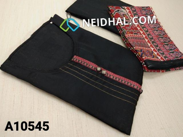 CODE A10545 : Designer Black Russian Silk unstitched salwar material(requires lining) with fancy buttons, zari thread stitch work on front side, black taffeta bottom, Digital printed silk cotton dupatta with tapings