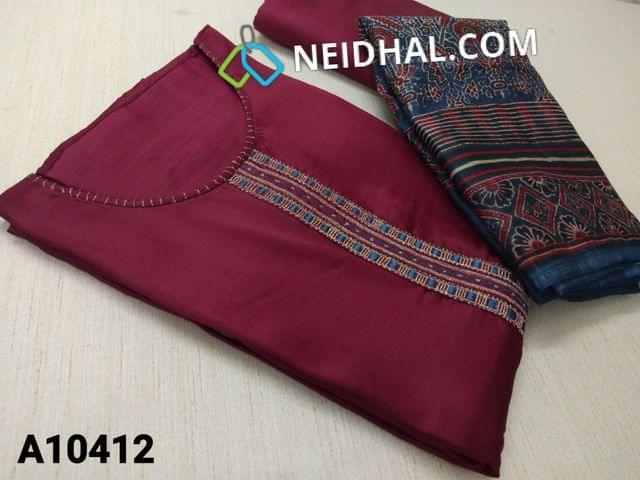 CODE A10412 : Designer Maroon Russian Silk unstitched salwar material(requires lining) with thread, zari thread work on yoke, maroon taffeta bottom, Digital printed silk cotton dupatta with tapings