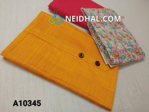 CODE A10345 : Yellow Silk Cotton unstitched salwar material(requires lining) with buttons yoke , pink cotton bottom, Heavy Embroidery work on slub silk cotton dupatta with tassels(requires taping)