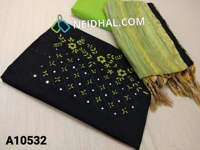 CODE A10532 : Black Silk Cotton unstitched salwar material(requires lining) with thread and foil mirror work on front side, green cotton bottom, thread weaving silk cotton dupatta with tassels