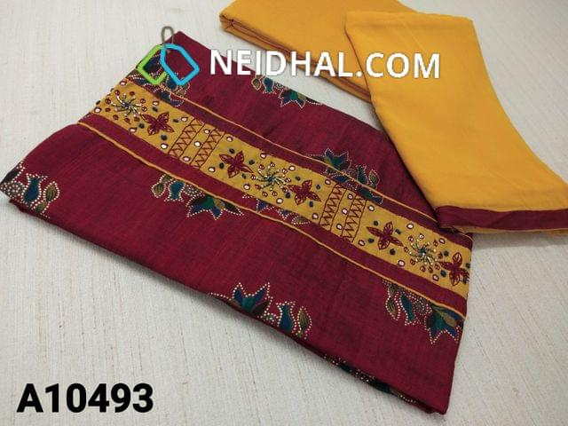 CODE A10493 :Floral Printed  Maroon Soft Silk Cotton unstitched salwar material(requires lining) with thread and foil mirror, bead work on yoke, golde prints on either side, yellow cotton bottom, yellow soft chiffon dupatta with tapings.