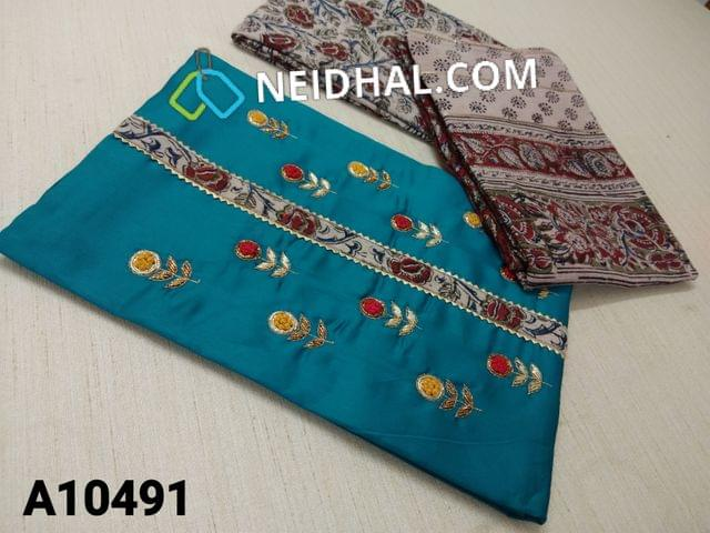 CODE A10491 : Blue Silk Cotton unstitched salwar material(requires lining) with french knot  kalamkari patch work on yoke, kalamkari daman patch, kalam kari cotton bottom, kalamkari printed cotton dupatta