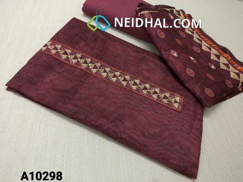 CODE A10298 : Premium Maroon Soft Thin Silk Cotton unstitched salwar material(requires lining) with digital print, thread and sequence work on yoke, maroon cotton bottom, digital printed thread and sequence work on silk cotton dupatta with tapings
