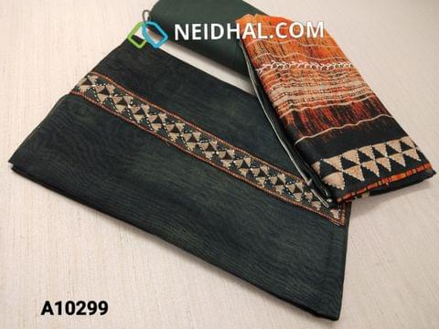 CODE A10299 : Premium Black Soft Thin Silk Cotton unstitched salwar material(requires lining) with digital print, thread and sequence work on yoke, black cotton bottom, digital printed thread and sequence work on silk cotton dupatta with tapings