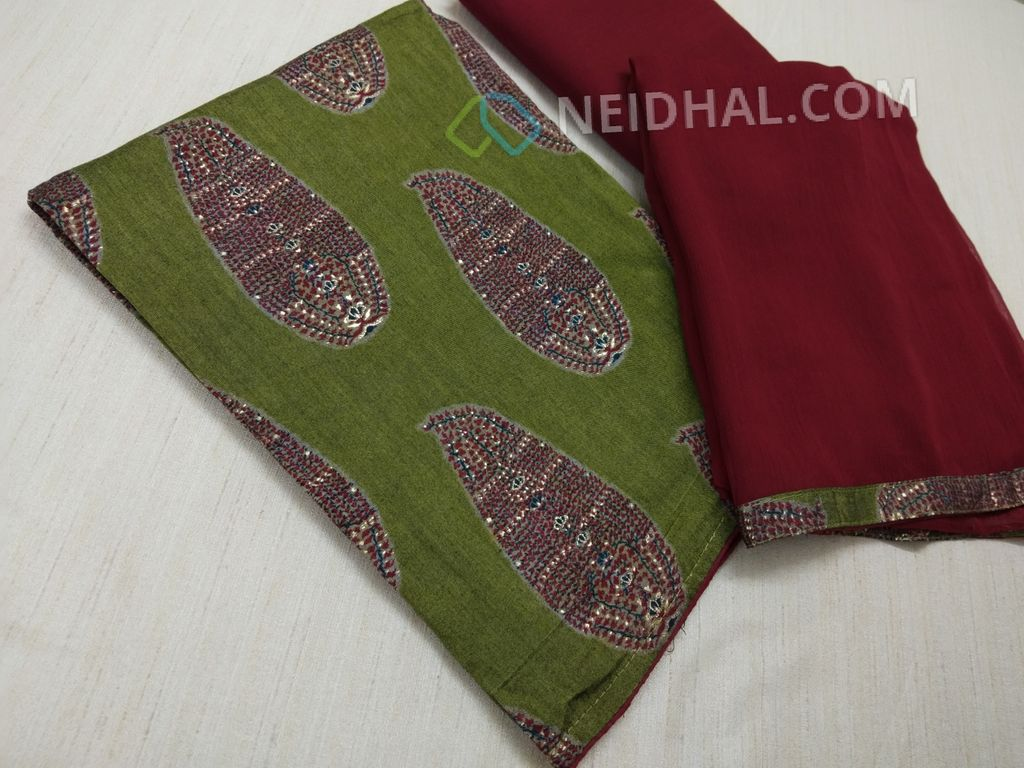 Printed Green Modal fabric(Flowy Fabric) unstitched salwar material, with golden prints, Maroon cotton bottom, Maroon Chiffon dupatta with taping