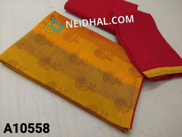 CODE A10558 : Printed Yellow slub Silk Cotton unstitched salwar material(requires lining) , red cotton bottom, printed red chiffon dupatta with tapings