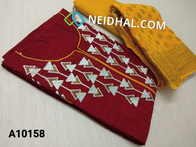 CODE A10158 : Premium Red Jaquard Silk Cotton unstitched salwar material(requires lining) wih embroidery work on yoke, yellow taffeta bottom, benaras weaving sikl cotton dupatta with tapings