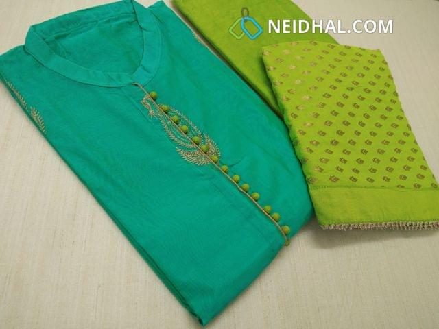 Designer Turquoise Green Chanderi Silk cotton unstitched salwar material (requires lining) with neck pattern, Potli butttons  and work on yoke, Front side heavy zari thread work, plain backside, Green Silk cotton bottom, Golden thread weaving on Chiffon dupatta with fancy taping