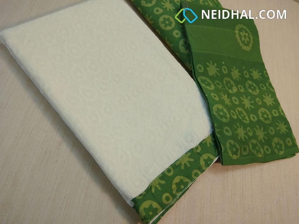 White Cotton Unstitched salwar material(requires lining) with Heavy chikan Work(embroidery design might vary), daman patch, wax batik green cotton bottom, wax batik green cotton dupatta.(requires taping)