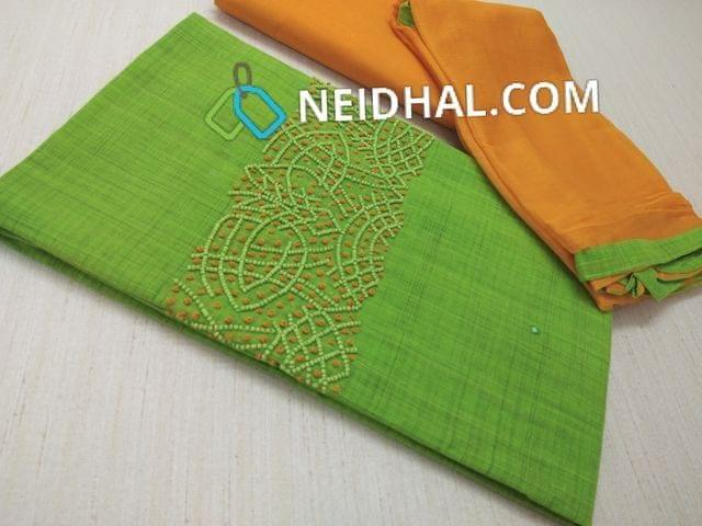 Green Silk Cotton unstitched Salwar material(requires lining) with bead and french knot work on yoke, Yellow cotton bottom, Yellow chiffon dupatta with taping