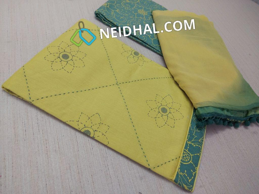 Printed Mehandhi Yellow Cotton unstitched salwar material(requries lining) with thread work on front sde, printed green cotton bottom, dual color chiifon dupatta with pom pom tapings