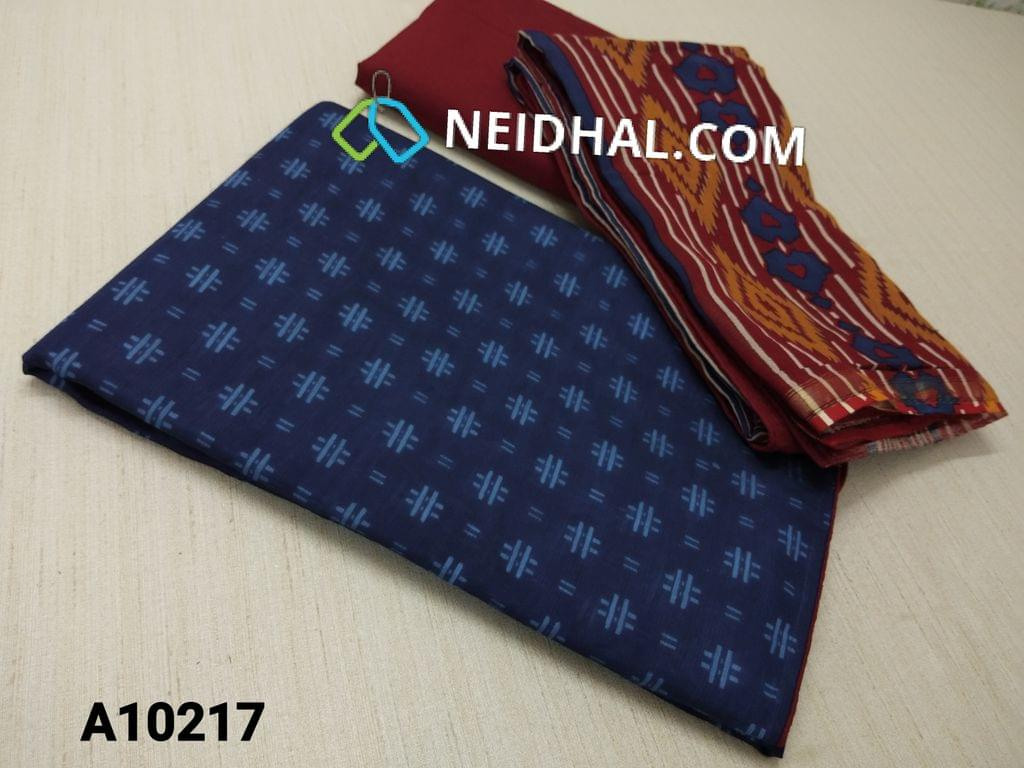 CODE A10217 : Printed Blue Soft Thin Silk Cotton unstitched salwar material(requires lining) , maroon cotton bottom, Block Printed silk cotton dupatta with taping