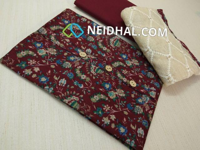 Printed Brown Jam cotton unsitched salwar material with buttons on yoke, Brown cotton bottom, Thread work on kora dupatta with taping