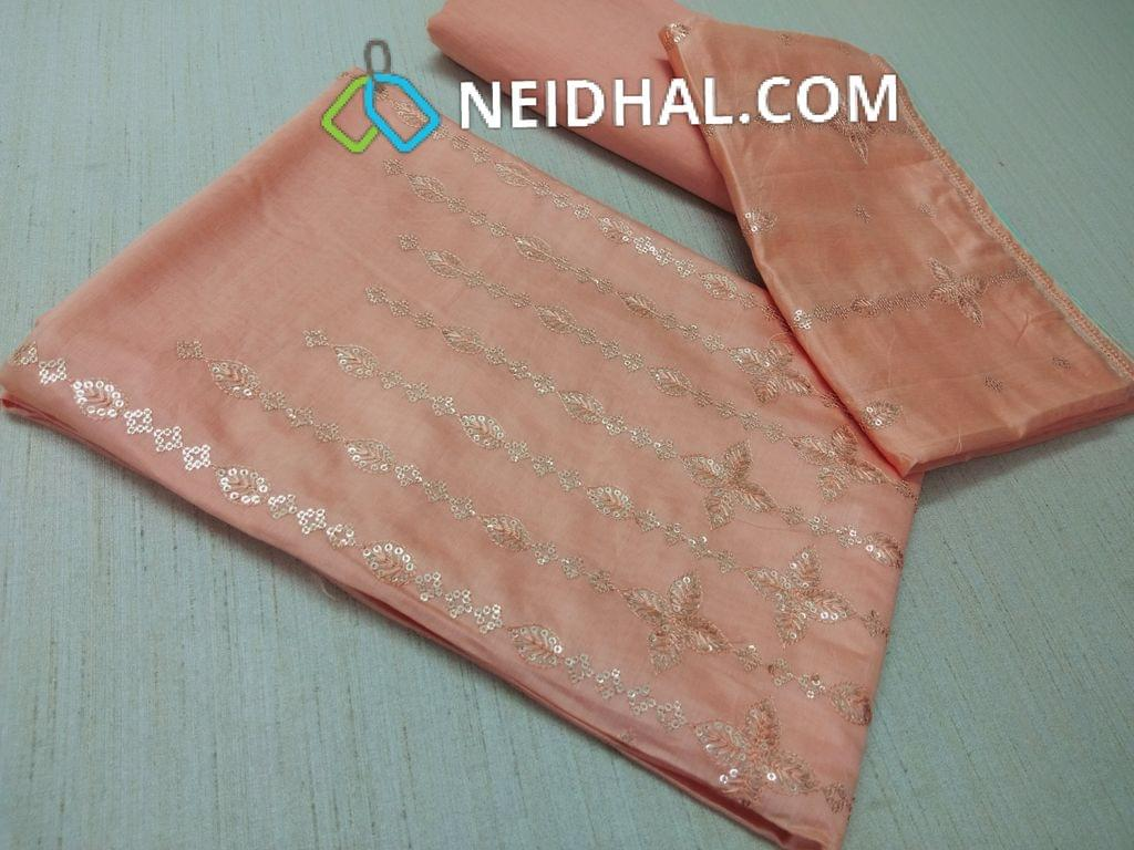 Premium Peach thin Silk cotton Unstitched salwar material(requires lining) with heavy thread and sequins work on yoke, Peach drum dyed cotton bottom(thin fabric with manual dyeing process), Soft Silk cotton short with dupatta with thread and sequins work.