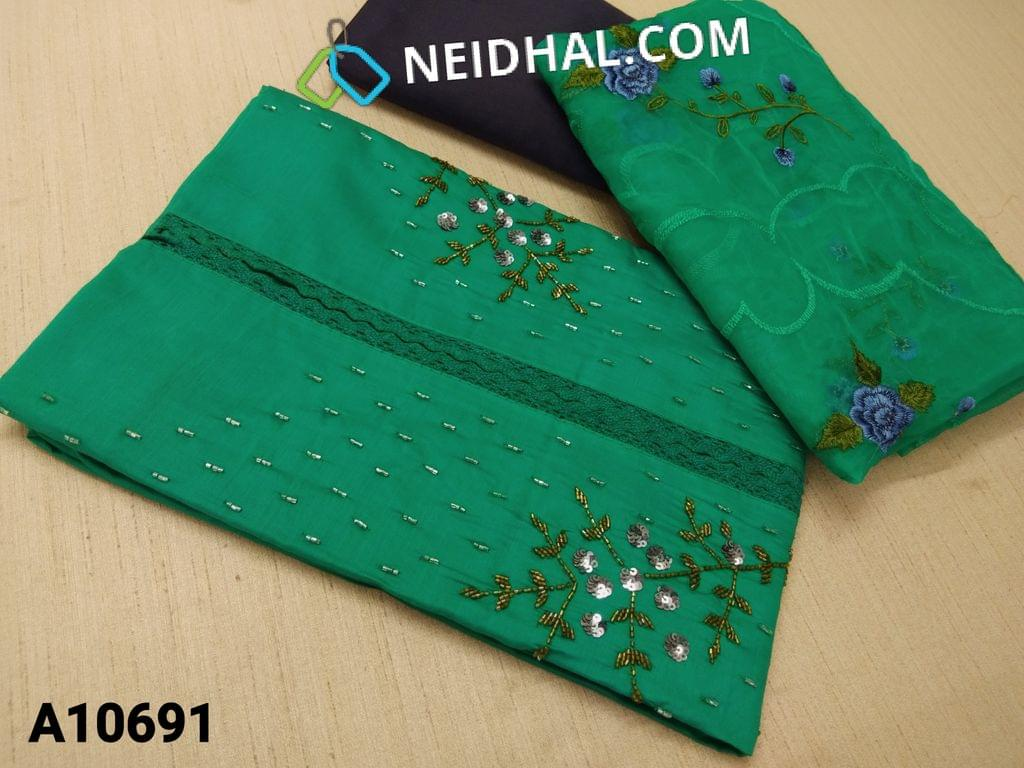 CODE A10691 : Premium Teal Green Silk Cotton unstitched salwar material(requires lining) with sequence, pipe and lace work on yoke, blue silk cotton bottom, Heavy embroidery work on organza dupatta with tapings.