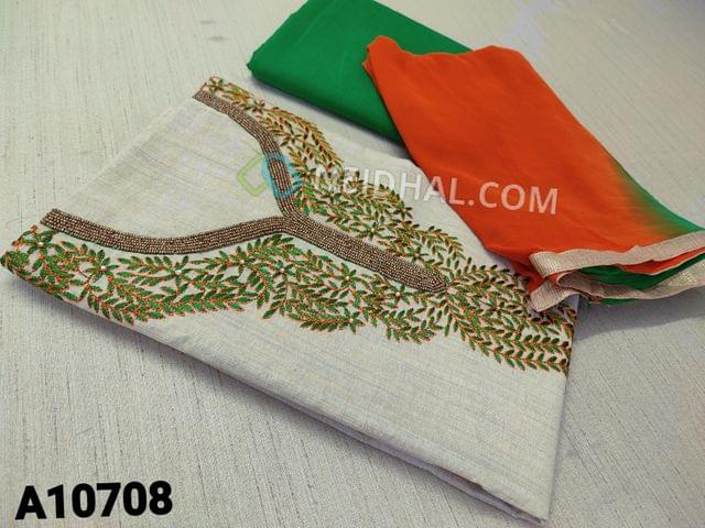 CODE  A10708 : Cream Kadhi Cotton Unstitched salwar material(requires lining) with bead, stone and embroidery work on yoke ,daman patch, green cotton bottom, dual color chiffon dupatta with tapings.