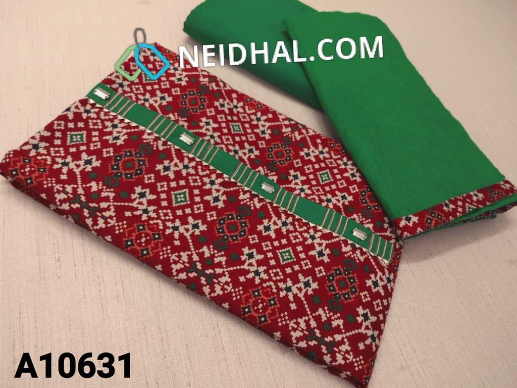 CODE A10631 :  Printed Red Cotton unstitched salwar material(requires lining) with metal buttons on yoke, green cotton bottom, green cotton dupatta with tapings.