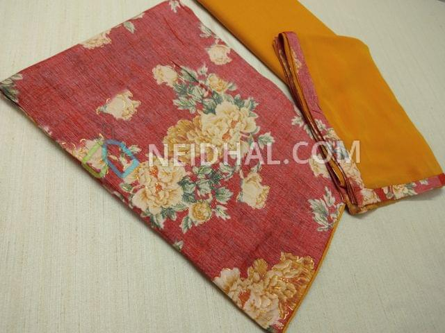 Floral Printed Pinkish Red Modal fabric(flowy fabric, requires lining) with golden prints, Yellow cotton bottom, Yellow nazneen dupatta with taping