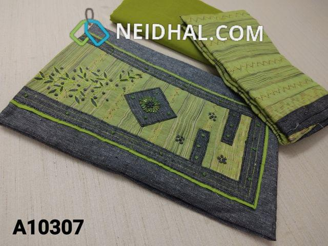 CODE A10307 : Blackish Grey Cotton unstitched salwar material(requires lining) with thread, french knot and pipe work on yoke, green cotton bottom, Thread weaving on silk cotton dupatta with tassels.