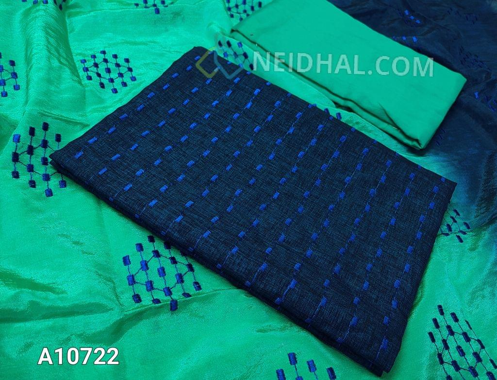 CODE A10722 : Dark Blue Silk Cotton unstitched salwar material(requires lining) with thead work on front side, plain back side, sea green cotton bottom, embroidery work on silk cotton dupatta with tassels